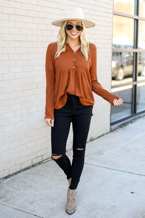 Rust - Thermal Knit Top from Dress Up