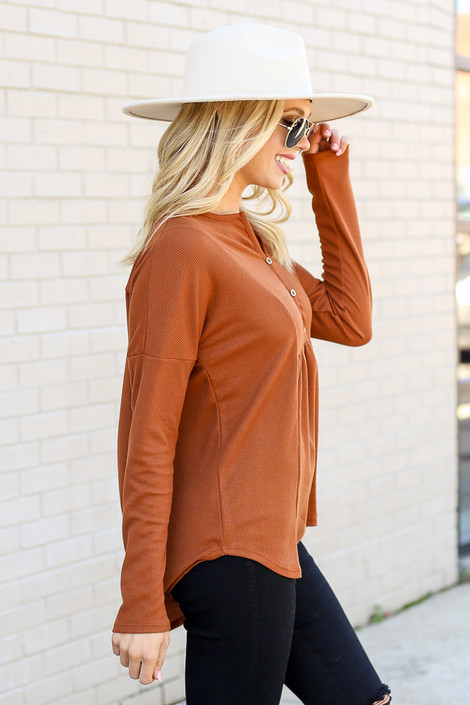 Rust - Thermal Knit Top from Dress Up Side View