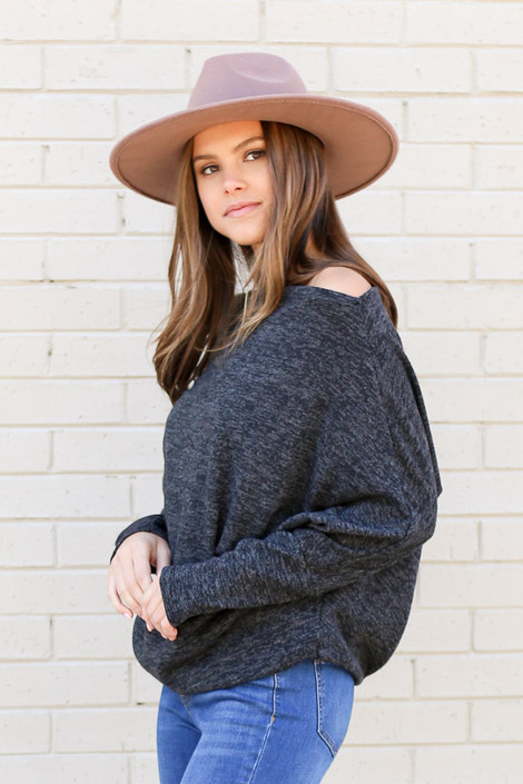 Charcoal Heathered Knit Off the Shoulder Top from Dress Up Side View