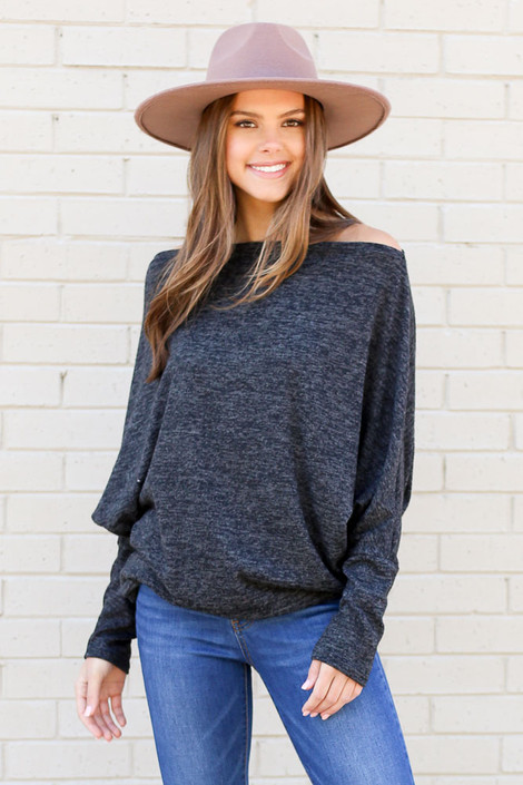 Model wearing the Charcoal Heathered Knit Off the Shoulder Top from Dress Up