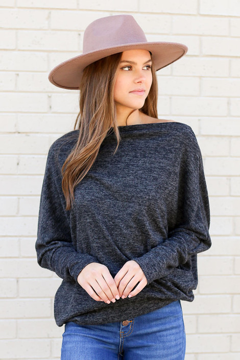 Charcoal - Heathered Knit Off the Shoulder Top from Dress Up