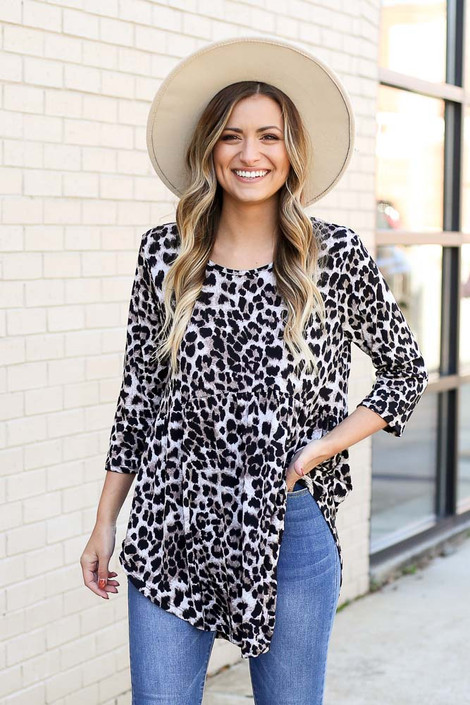 Taupe - Leopard Babydoll Tunic from Dress Up
