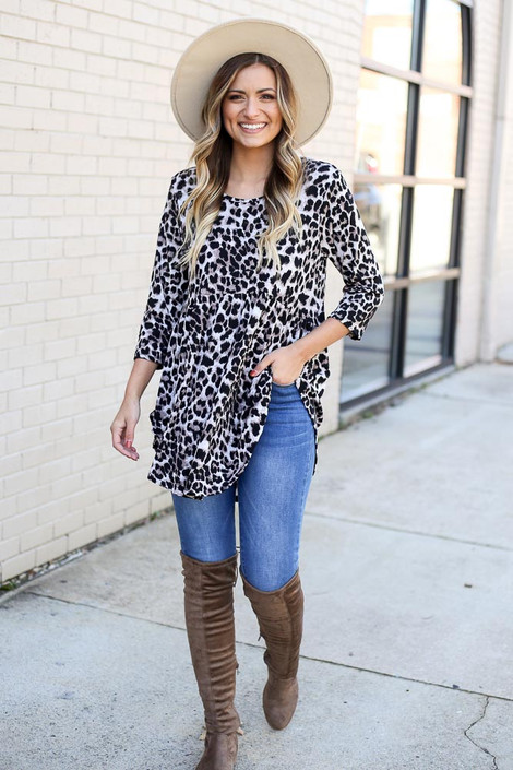 Taupe - Leopard Babydoll Tunic from Dress Up full outfit view