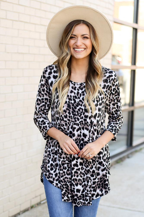 Model wearing Leopard Babydoll Tunic from DressUp Front View