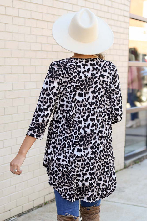 Model wearing Leopard Babydoll Tunic from DressUp Back View