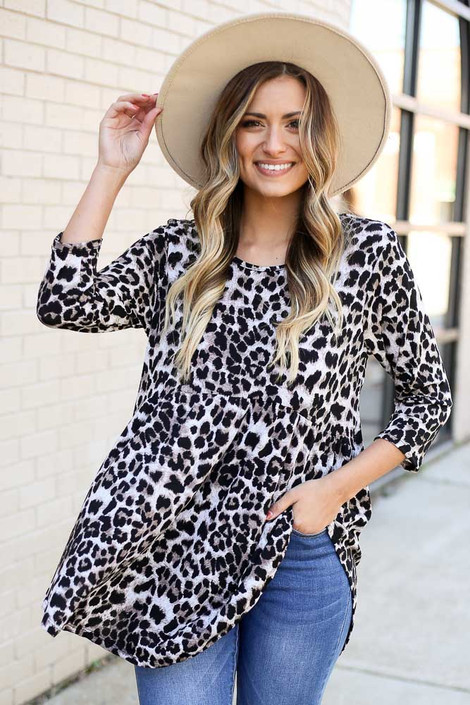 Dress Up Model wearing Leopard Babydoll Tunic Front View
