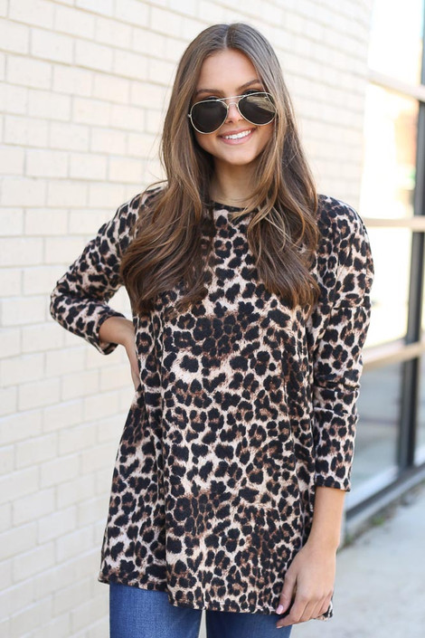 Brown - Brushed Knit Leopard Tunic