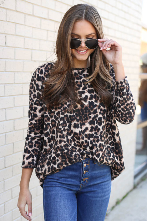 Brown - Brushed Knit Leopard Tunic from Dress Up