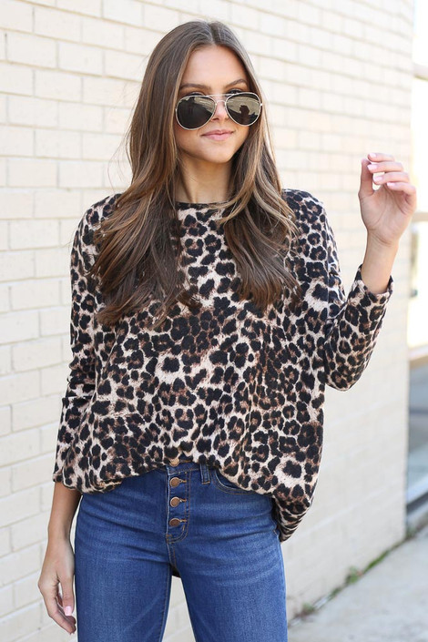 Brushed Knit Leopard Tunic front tucked into High Rise Jeans from Dress Up