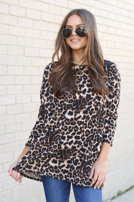 Brushed Knit Leopard Tunic with Jeans on Dress Up Model