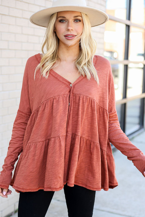 Rust - Tiered Button Front Top from Dress Up