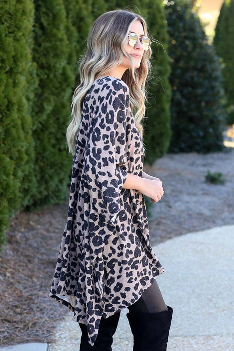 Dress Up model wearing the Leopard Oversized Poncho Side View