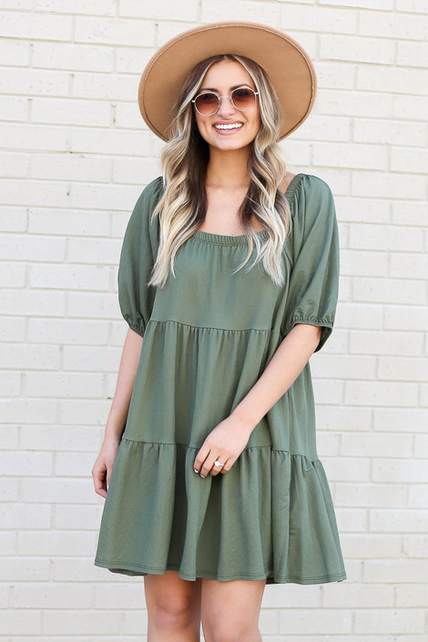 Olive - Off the Shoulder Tiered Midi Dress