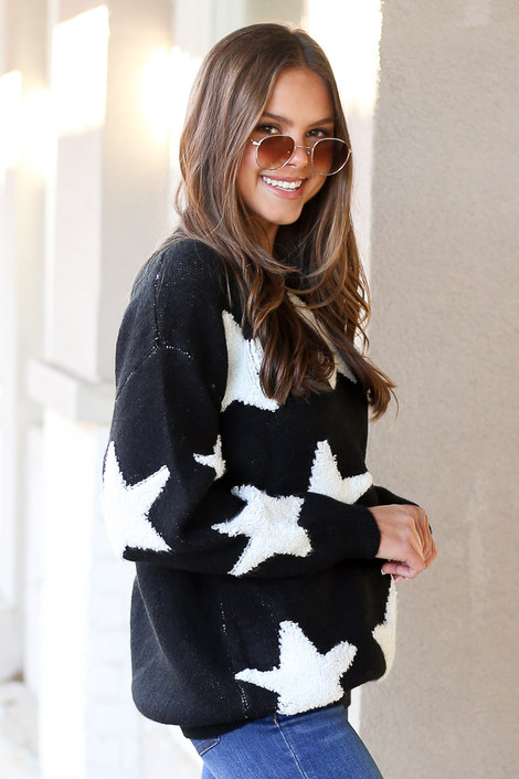 Black - Luxe Knit Star Sweater from DressUp Side View