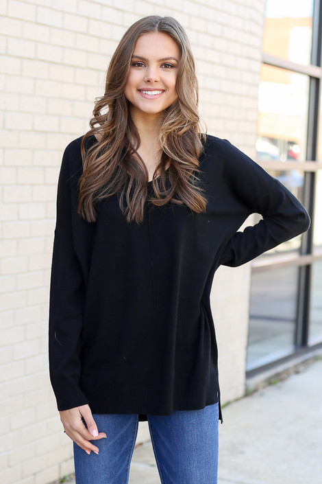 Black - Oversized Lightweight Knit Sweater