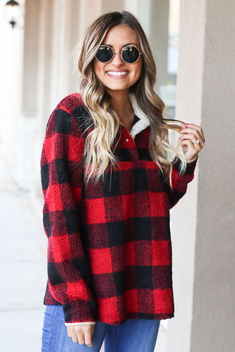 Model wearing the Red Buffalo Plaid Sherpa Pullover Front View