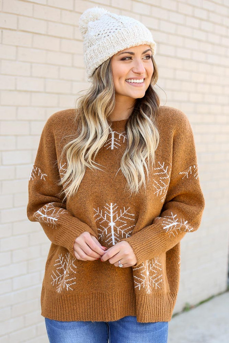 Camel - Snowflake Knit Sweater from Dress Up