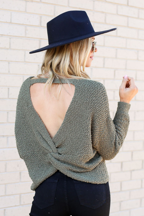 Olive - Open Knit Twist Back Sweater from Dress Up Back View