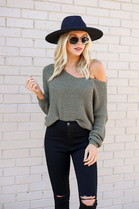 Olive - Open Knit Twist Back Sweater from Dress Up