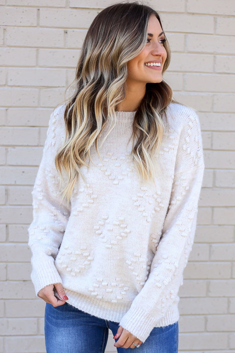 Ivory - Pom Pom Heart Sweater from Dress Up