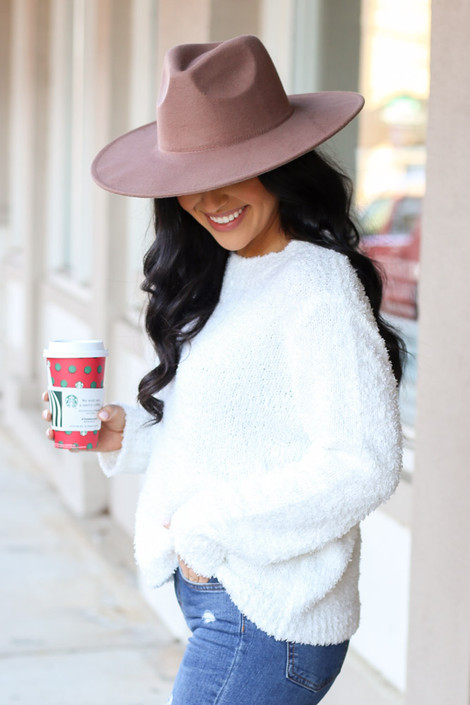 Model of Dress Up wearing the Fuzzy Knit Sweater in Ivory Side View