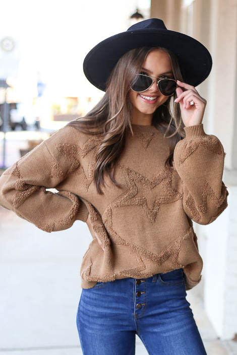 Camel - Luxe Knit Balloon Sleeve Star Sweater from Dress Up