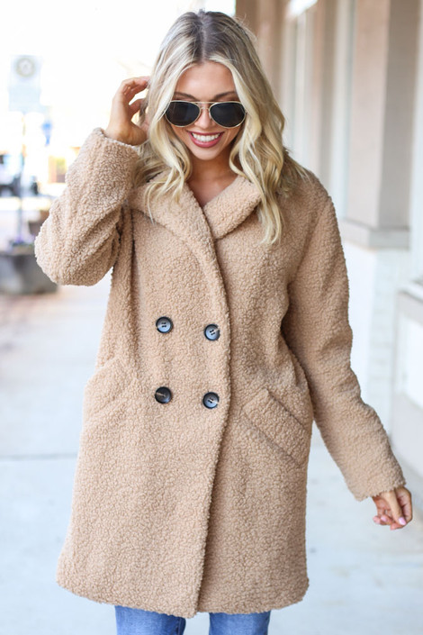 Camel - Sherpa Teddy Jacket on Model from Dress Up
