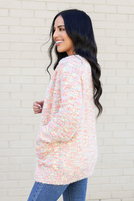 Model wearing the Multi Eyelash Confetti Knit Cardigan from Dress Up Side View