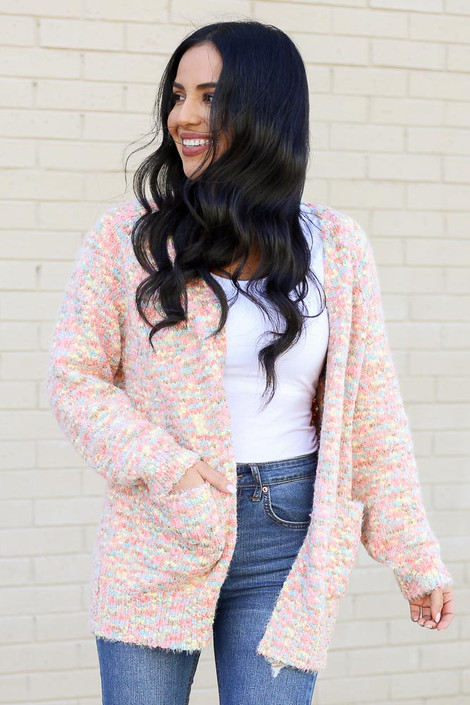 Model wearing the Eyelash Confetti Knit Cardigan from Dress Up Front View