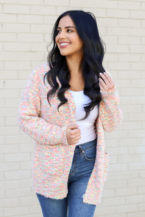 Model from Dress Up wearing the Eyelash Confetti Knit Cardigan Front View
