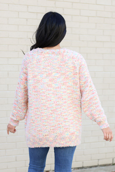Model wearing the Eyelash Confetti Knit Cardigan from Dress Up Back View