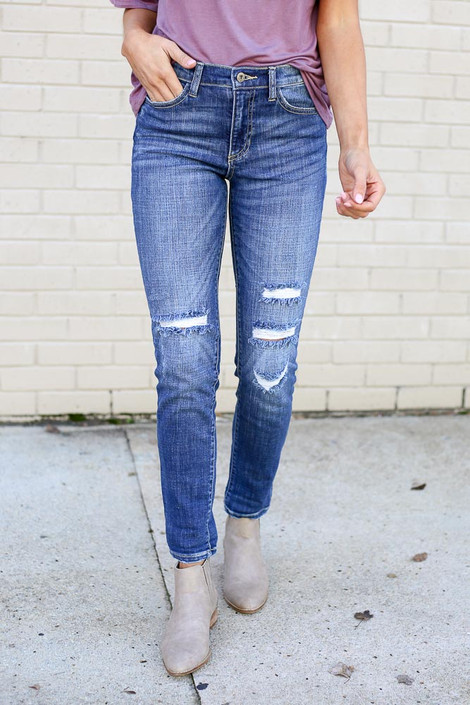 Medium Wash - High Rise Distressed Skinny Jeans Close Up