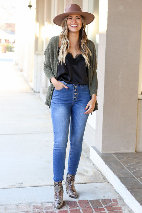 Medium Wash - Button Up High Rise Skinny Jeans from Dress Up