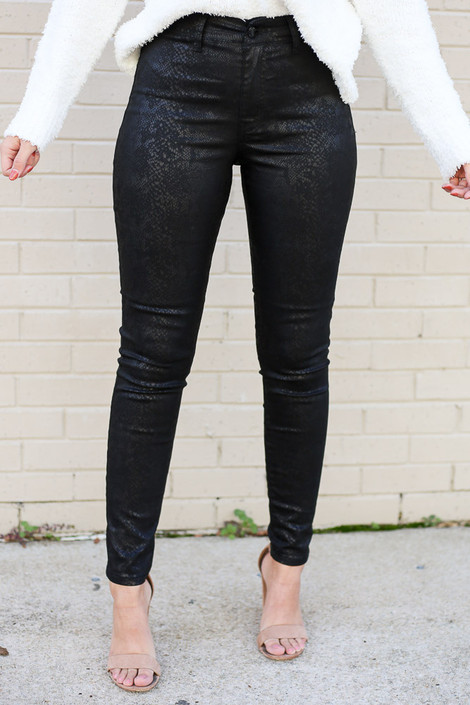 Model wearing the Black Snakeskin High Rise Skinny Jeans Close Up