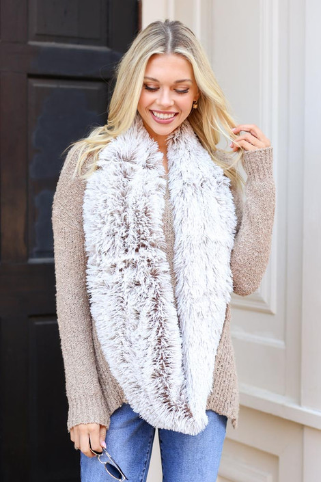 Taupe - Faux Fur Infinity Scarf on Model