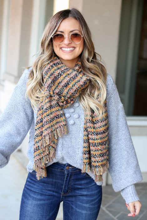 Navy - Plaid Fringe Blanket Scarf from Dress Up