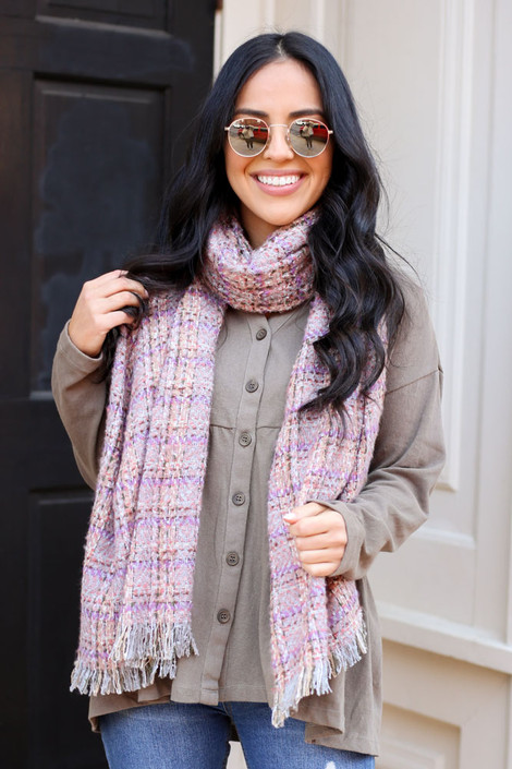 Grey - Plaid Fringe Blanket Scarf from Dress Up