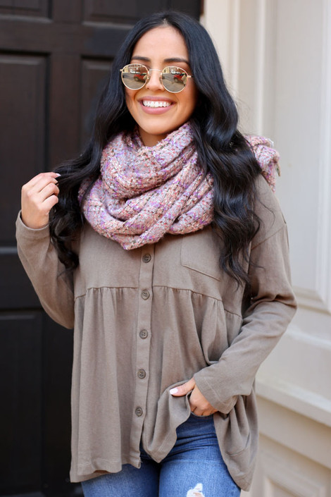 Model wearing the Plaid Fringe Blanket Scarf in Grey from Dress Up with Babydoll Top Front View
