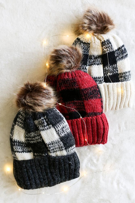 Red - Buffalo Plaid Pom Pom Beanie in all three color ways