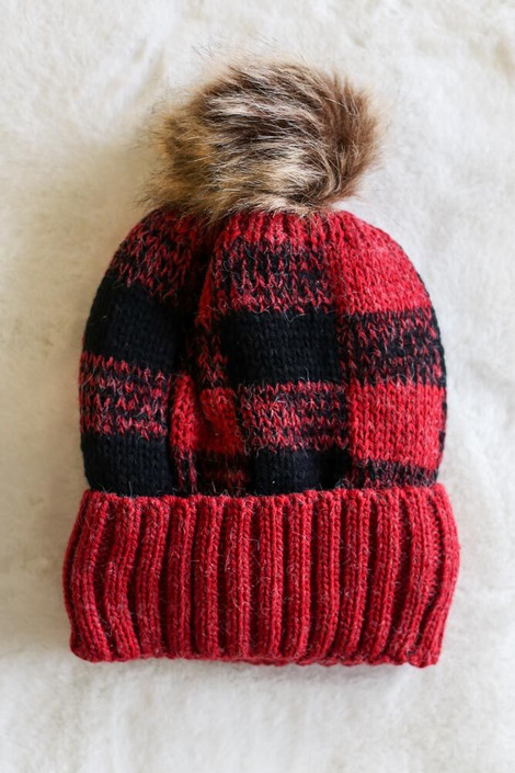 Red - Buffalo Plaid Pom Pom Beanie Flat Lay on Faux Fur Rug