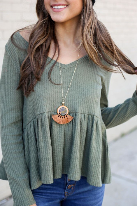 Rust - Statement Tassel Necklace on Model from Dress Up