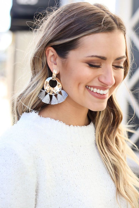 Grey - Hammered Gold and Tassel Statement Earrings on Dress Up Model