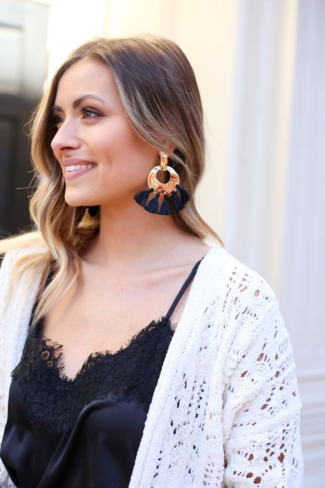 Black - Hammered Gold and Tassel Statement Earrings on Dress Up Model
