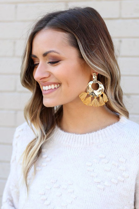 Mustard - Hammered Gold and Tassel Statement Earrings on Dress Up Model