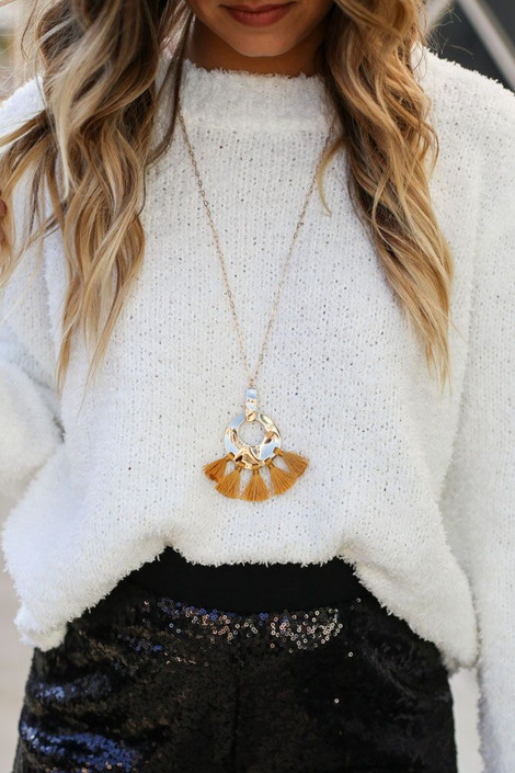 Mustard - Hammered Gold and Tassel Statement Necklace on model