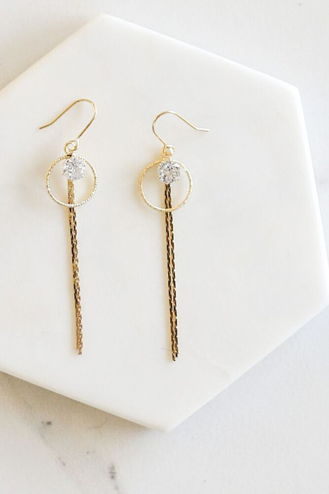 Gold - Flat Lay of the Emerson Rhinestone Drop Earrings from Dress Up