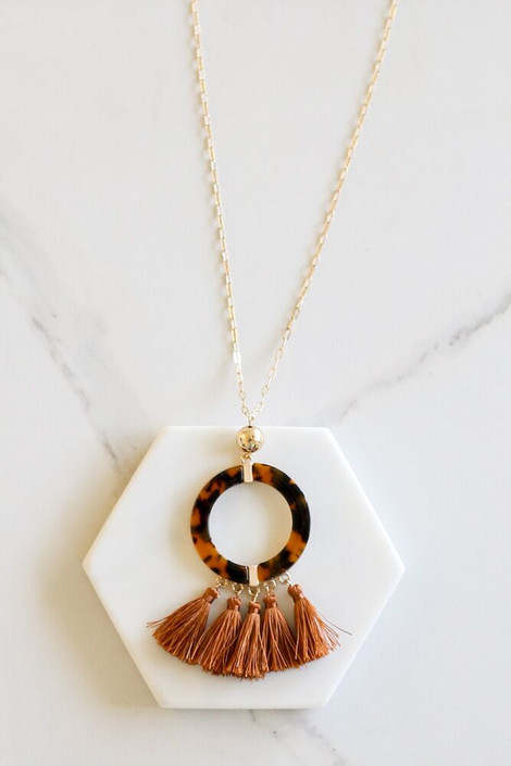 Rust - Tortoise and Tassel Statement Necklace Flat Lay