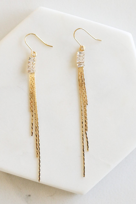 Gold - Rhinestone Chain Drop Earrings Flat Lay