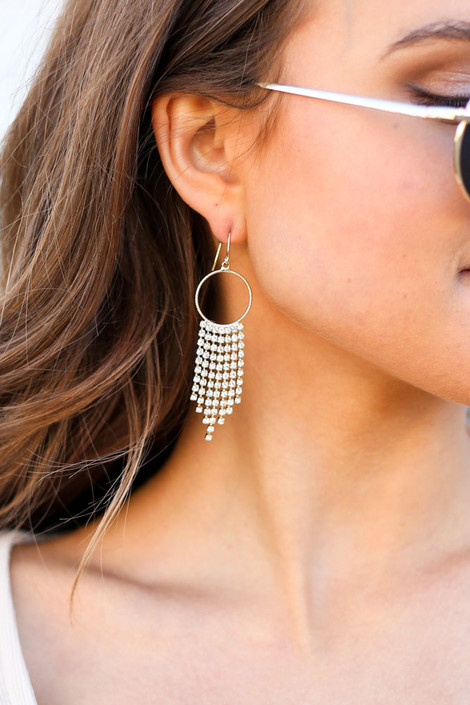 Gold - Hoop and Rhinestone Drop Earrings from Dress Up on Model with Sunglasses