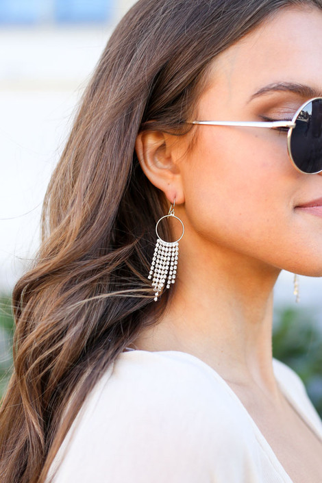 Gold - Hoop and Rhinestone Drop Earrings from Dress Up